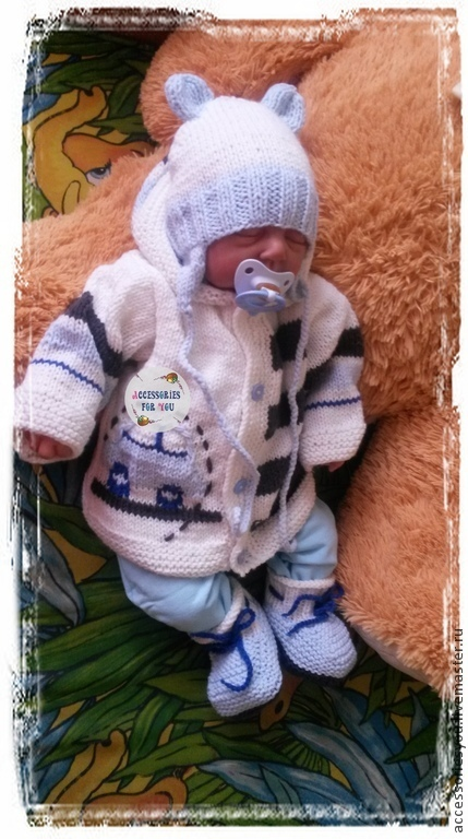 """Одежда ручной работы. Ярмарка Мастеров - ручная работа. Купить Комплект """"Stylish boy""""для новорожденного(4 предмета). Handmade. Голубой"""