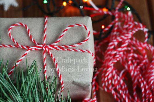 Упаковка ручной работы. Ярмарка Мастеров - ручная работа. Купить Новогодняя веревочка, витой шнур 1,3 м. Handmade.
