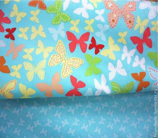 """Шитье ручной работы. Ярмарка Мастеров - ручная работа. Купить Ткань хлопок """"Бабочки большие, бабочки маленькие на бирюзе"""".. Handmade."""