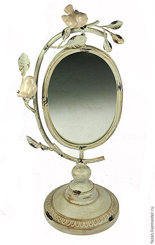 Зеркало настольное Птички в стиле прованс