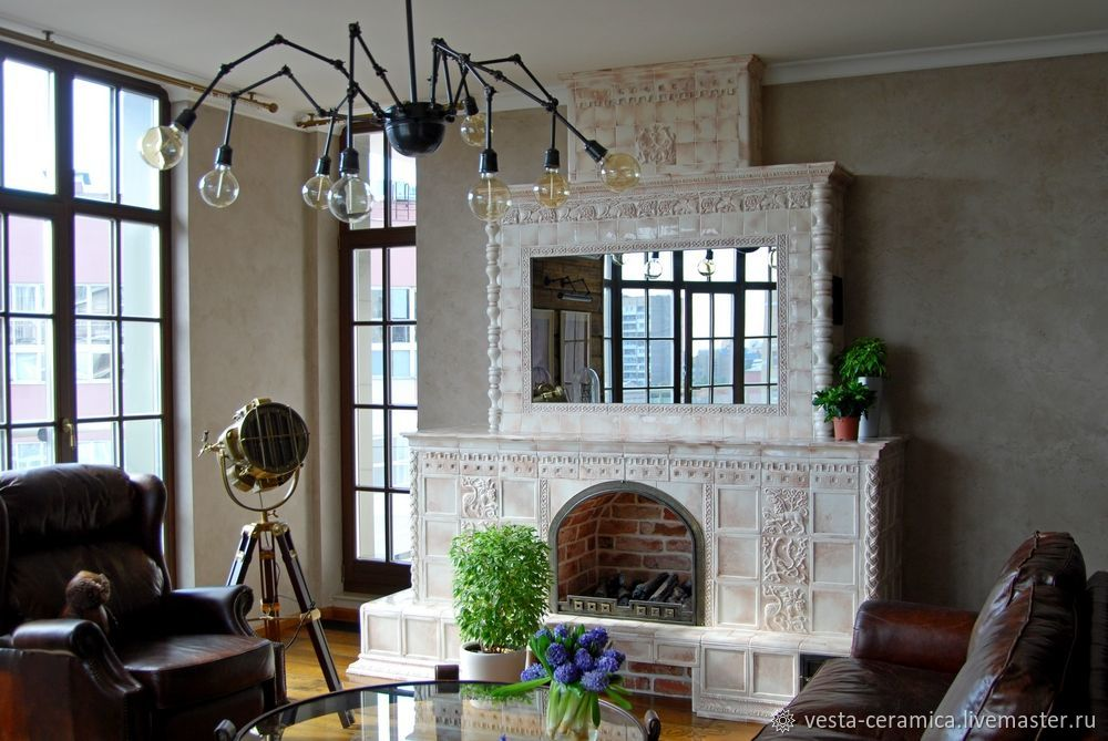 Tile `Vintage` fireplace in the interior