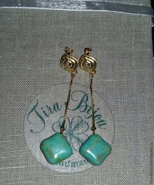 Серьги ручной работы. Ярмарка Мастеров - ручная работа. Купить Серьги Turquoise nougat. Handmade. Бирюзовый, gold filled 14k
