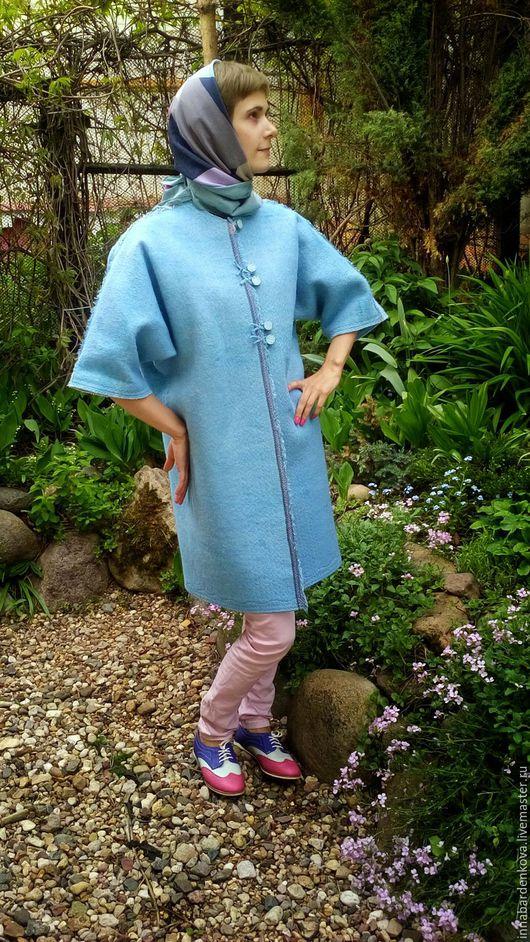 """Верхняя одежда ручной работы. Ярмарка Мастеров - ручная работа. Купить Летнее пальто """"Небесно-голубое"""". Handmade. Голубой"""