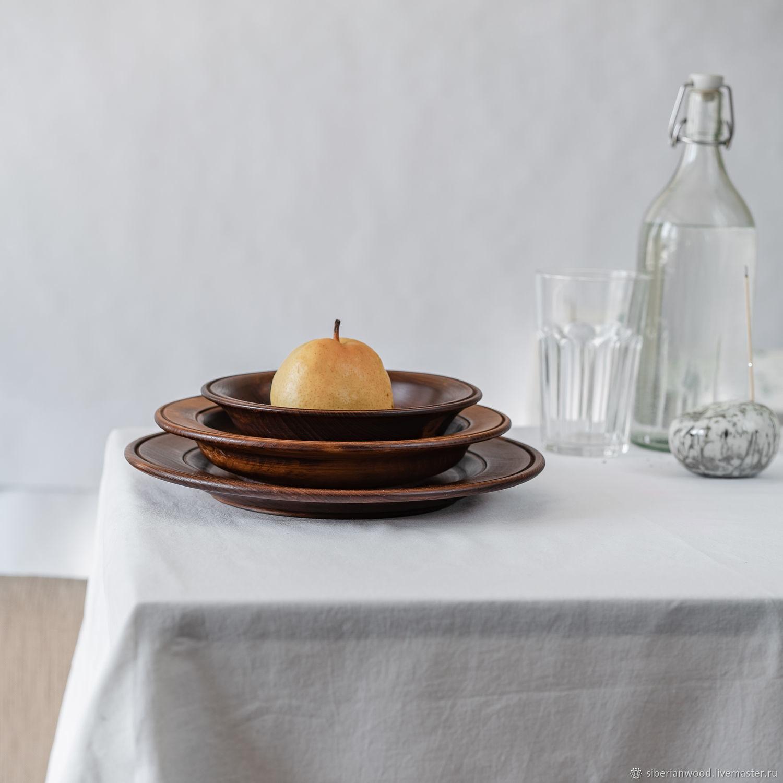 Set of plates of the 'Aristocrat' series made of Cedar 3 PCs. TN57, Dinnerware Sets, Novokuznetsk,  Фото №1