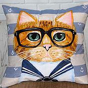 Для дома и интерьера handmade. Livemaster - original item Decorative pillow pattern cat sailor hand painted. Handmade.