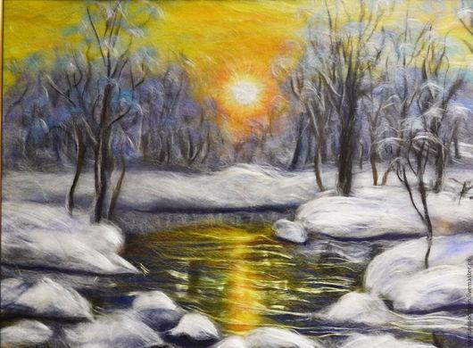 Пейзаж ручной работы. Ярмарка Мастеров - ручная работа. Купить Картина из шерсти Зимний лес. Handmade. Комбинированный, новый год 2016