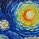 Репродукции ручной работы. Ярмарка Мастеров - ручная работа. Купить Картина маслом по мотиву Винсент Ван Гог  Звёздная ночь. Handmade.