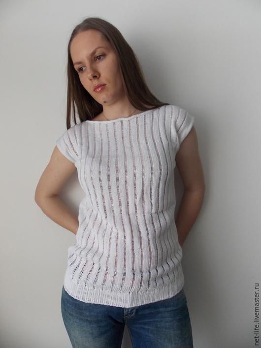 """Кофты и свитера ручной работы. Ярмарка Мастеров - ручная работа. Купить Хлопковый пуловер """"Эдельвейс"""" со снятыми петлями.. Handmade."""