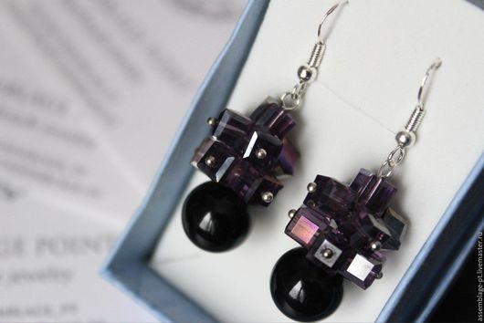 """Серьги ручной работы. Ярмарка Мастеров - ручная работа. Купить Серьги """"Lilac"""". Handmade. Фиолетовый, серьги с агатом, агат натуральный"""