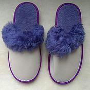 Обувь ручной работы handmade. Livemaster - original item Slippers made of leather mother of pearl sheepskin 38. Handmade.