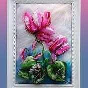 Картины и панно ручной работы. Ярмарка Мастеров - ручная работа Картина из шерсти цветы розовый цикламен 21х30 см. Handmade.
