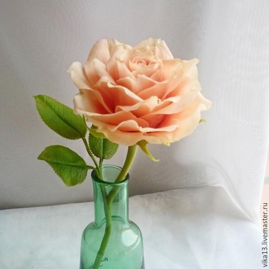 """Цветы ручной работы. Ярмарка Мастеров - ручная работа. Купить Роза из холодного фарфора """"Оттенок лосось. Handmade. Бежевый"""