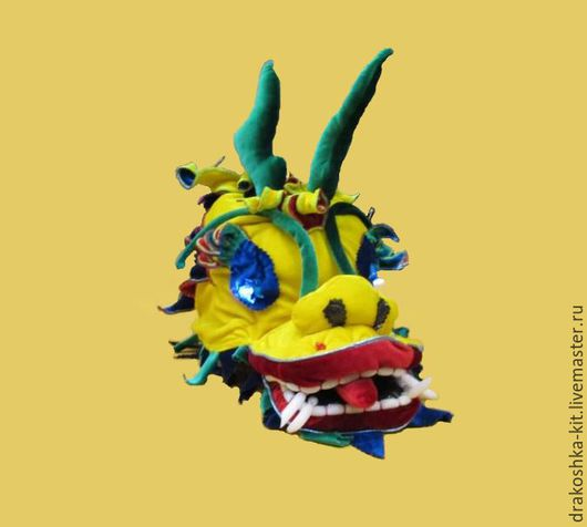 Детские карнавальные костюмы ручной работы. Ярмарка Мастеров - ручная работа. Купить Голова Дракона со светящимися глазами из бархата. Handmade.