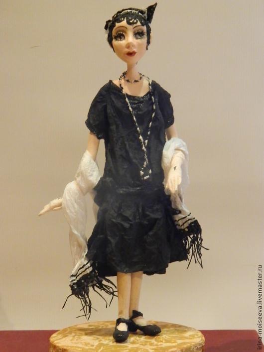 Коллекционные куклы ручной работы. Ярмарка Мастеров - ручная работа. Купить Адель (20-е годы). Handmade. Черный, Паперклей