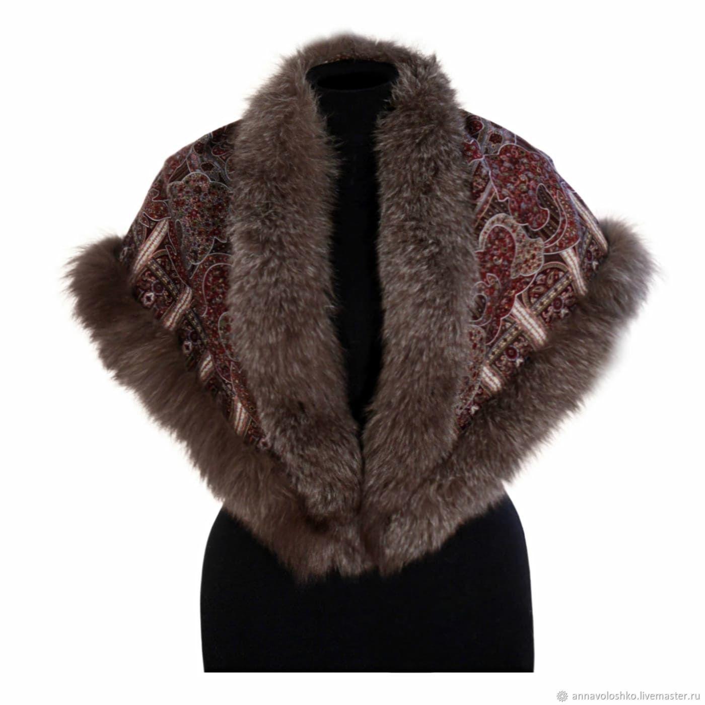 Shawl with Fox fur, Shawls1, Moscow,  Фото №1