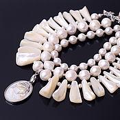 Украшения handmade. Livemaster - original item necklace cameo genuine pearls, mother-of-pearl cameo. Collar. Handmade.