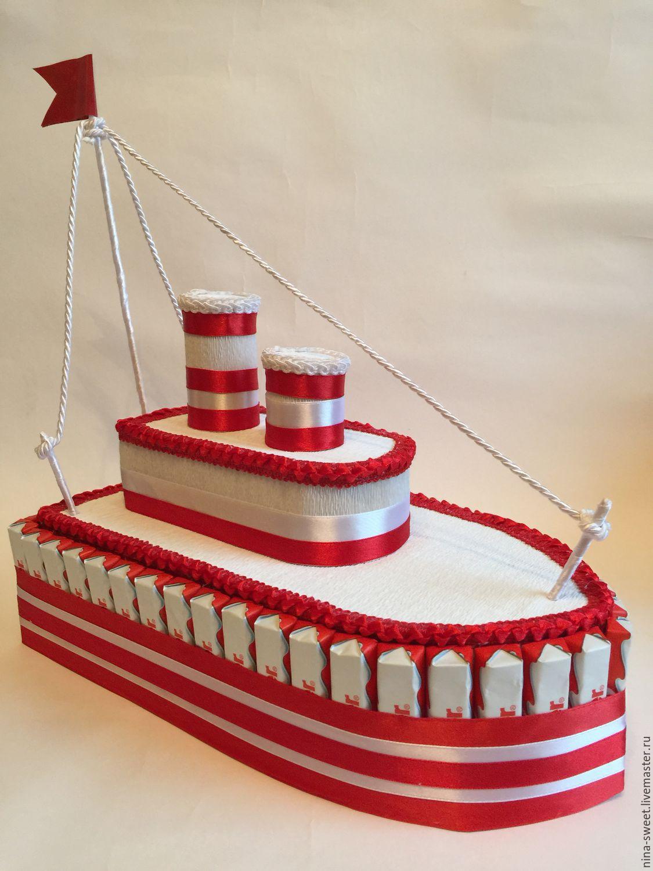 Корабль из киндер шоколада