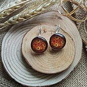 Украшения handmade. Livemaster - original item Silver plated earrings Hohloma (yellow-red pattern). Handmade.