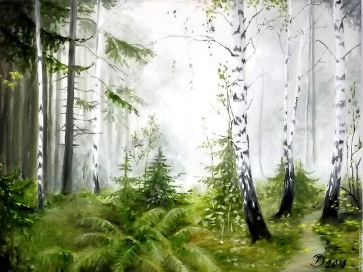 Пейзаж ручной работы. Ярмарка Мастеров - ручная работа. Купить Картина маслом Утренний лес. Handmade. Картина маслом лес