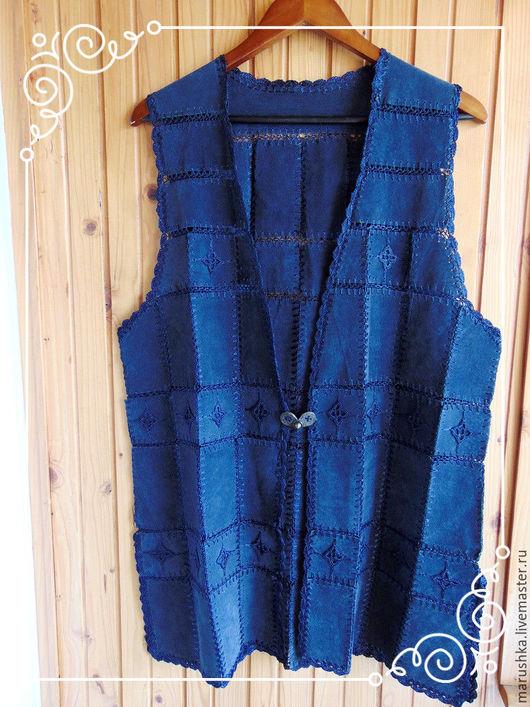 Одежда. Ярмарка Мастеров - ручная работа. Купить Винтажный замшевый жилет  с вязанными элементами, Европа. Handmade. Тёмно-синий