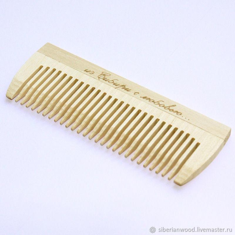 Wooden comb-comb made of birch wood No. №1101, Comb, Novokuznetsk,  Фото №1