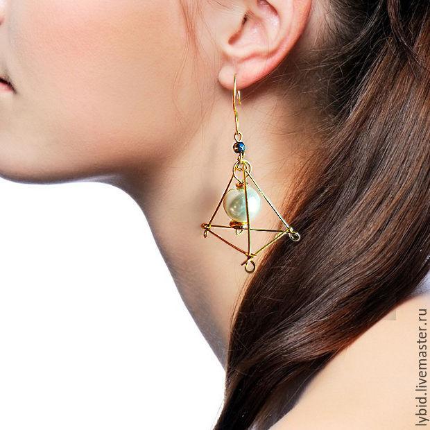 brass geometric earrings with pearl bead, Earrings, Varna,  Фото №1