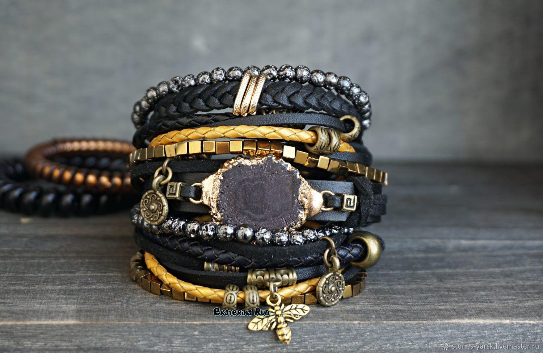 BOHO style bracelet with hematite 'Black and Gold', Bead bracelet, Moscow,  Фото №1