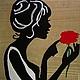 """Люди, ручной работы. Ярмарка Мастеров - ручная работа. Купить Картина из дерева """"Аленький цветочек"""". Handmade. Оливковый, картина в подарок"""