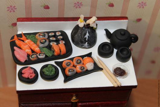Еда ручной работы. Ярмарка Мастеров - ручная работа. Купить Набор суши. Handmade. Суши, полимерная глина, черный
