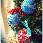Подарки к праздникам ручной работы. Ярмарка Мастеров - ручная работа Елочные новогодние шары. Точечная роспись. Handmade.