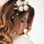 Свадебный салон ручной работы. Ярмарка Мастеров - ручная работа Венок для волос с садовыми розами. Handmade.