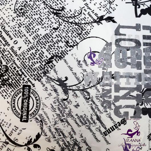 """Шитье ручной работы. Ярмарка Мастеров - ручная работа. Купить Атлас стрейч с принтом """"Ретро Газеты SEANNA"""". Handmade."""
