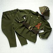 Одежда детская handmade. Livemaster - original item Children`s military uniform for boy suit cap breeches khaki. Handmade.