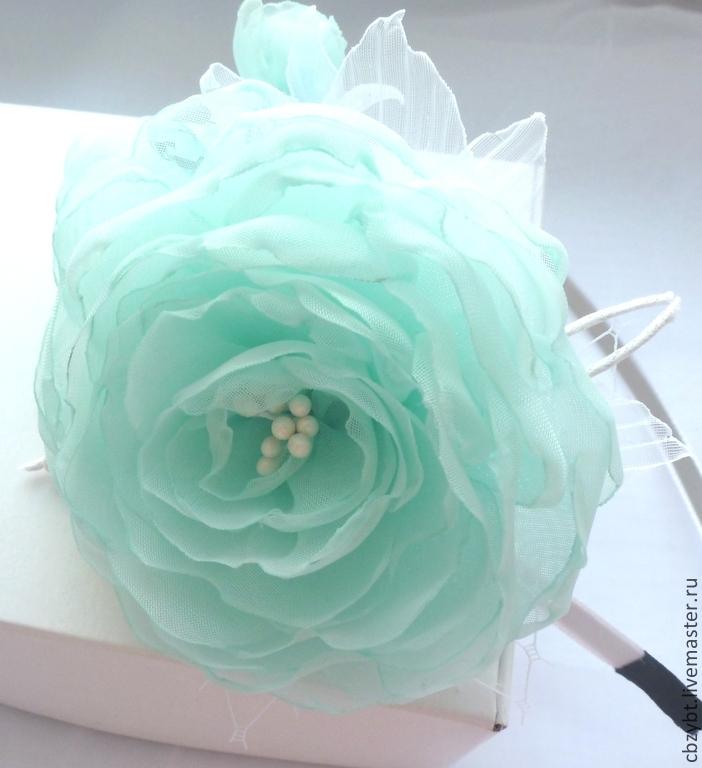 Rim with flowers from tissue ' aquamarine', Headband, Yurga,  Фото №1