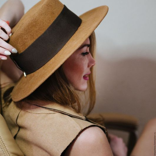 """Шляпы ручной работы. Ярмарка Мастеров - ручная работа. Купить Шляпа  """" Канотье"""". Handmade. Коричневый, шляпа, шляпа женская"""