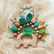 Работы для детей, handmade. Livemaster - original item Rodent elephant with your baby`s name emerald green. Handmade.