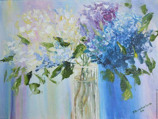 """Картины цветов ручной работы. Ярмарка Мастеров - ручная работа. Купить """"Сирень"""". Handmade. Голубой, сиреневый, картина цветов"""