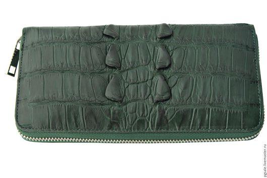 Кошелек из кожи крокодила. Кожа крокодила. Зеленый кошелек. Мужской кошелек. Женский кошелек. Кошелек на молнии .Подарок мужчине. Подарок для женщины. Кошелек в подарок.Подарок. Большой кошелек.