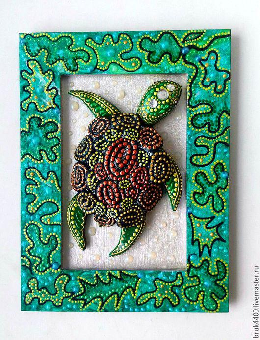 """Фен-шуй ручной работы. Ярмарка Мастеров - ручная работа. Купить панно """"Черепаха"""". Handmade. Зеленый, талисман, полимерная глина"""