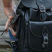 Сумки и аксессуары handmade. Livemaster - original item Black leather female backpack Monica Mod R52 -711. Handmade.