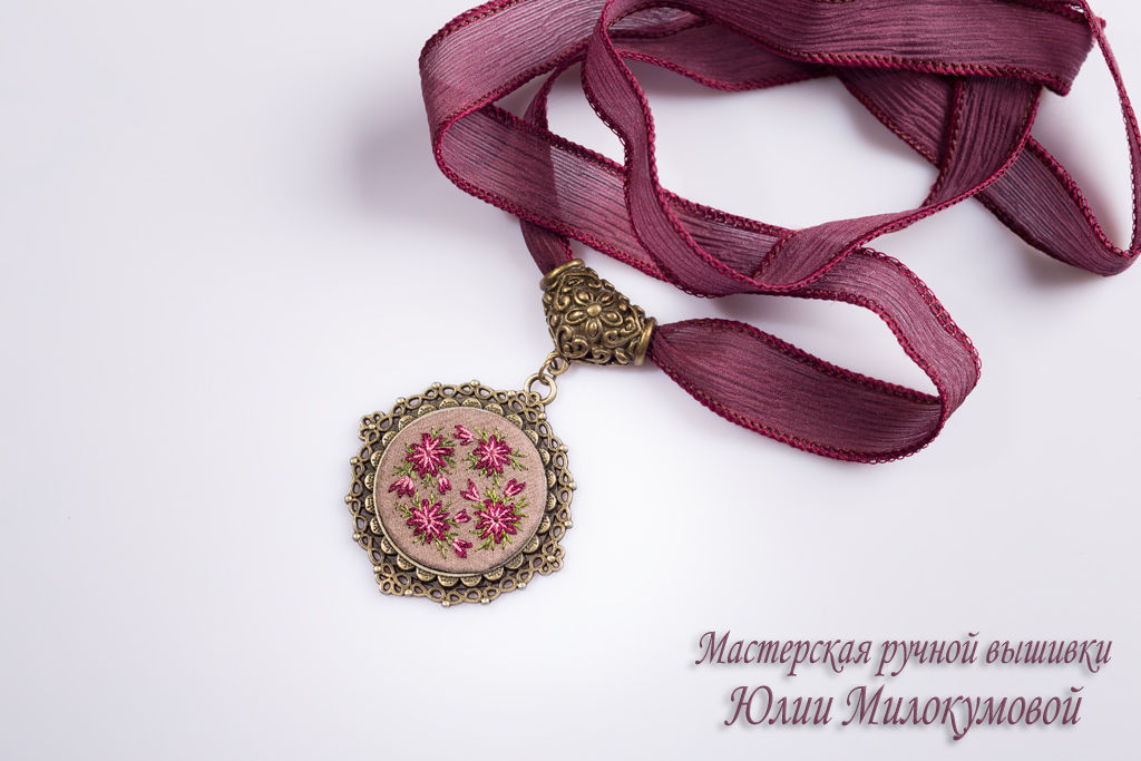 Embroidered pendant Astrantsiya, Jewelry Sets, Moscow,  Фото №1