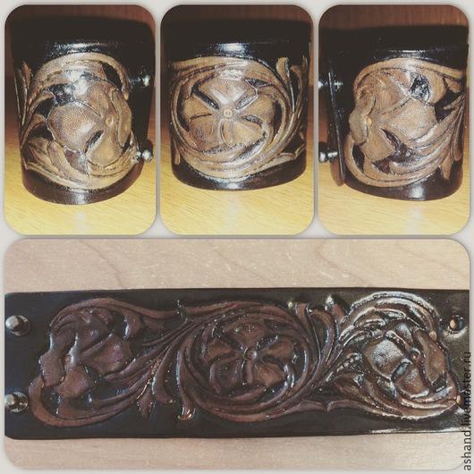 Пояса, ремни ручной работы. Ярмарка Мастеров - ручная работа. Купить Кожаные тиснёные браслеты. Handmade. Браслет ручной работы