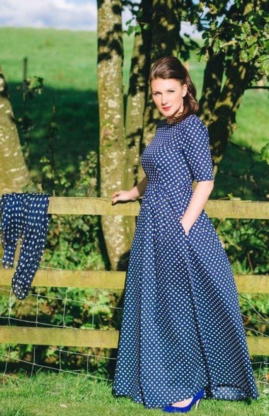 Платья ручной работы. Ярмарка Мастеров - ручная работа. Купить Navy polka dot maxi dress. Handmade. Синий, платье