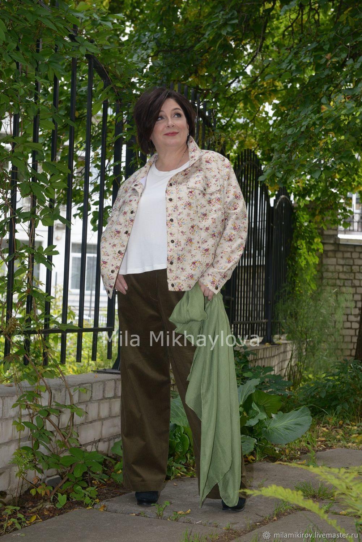 Верхняя одежда ручной работы. Ярмарка Мастеров - ручная работа. Купить Куртка льняная джинса, на кнопках, в мелкий цветочек Арт. 3697. Handmade.