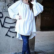 Одежда handmade. Livemaster - original item Blouse with extravagant sleeves. Asymmetric Maxi-top-TU0511PLV. Handmade.