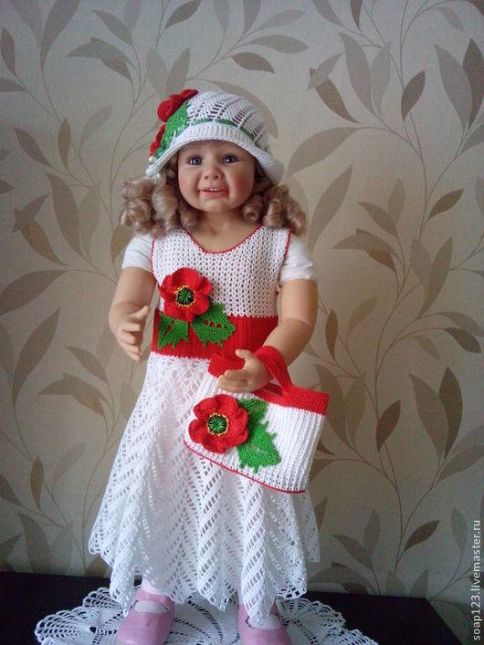 """Одежда для девочек, ручной работы. Ярмарка Мастеров - ручная работа. Купить Комплект """"Маки"""". Handmade. Разноцветный, крючком, шляпка"""