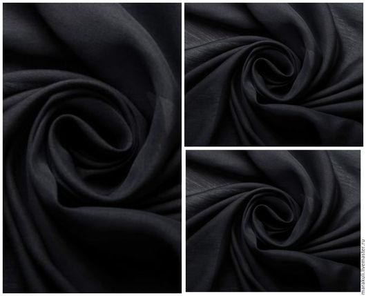 Натуральный шелковый батист производство Италия Цвет глубокий черный