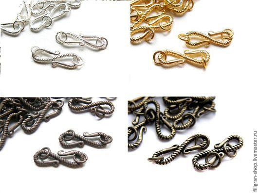 Для украшений ручной работы. Ярмарка Мастеров - ручная работа. Купить Замочек витой крючок, серебро, золото, медь, бронза. Handmade.