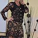 Платья ручной работы. Платье вязанок крючком Черный ажур. Дом Мод - Аксинии Гладковой. Ярмарка Мастеров. Платье коктейльное