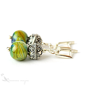 Украшения handmade. Livemaster - original item Earrings bird of Paradise lampwork 925 sterling silver yellow-green. Handmade.